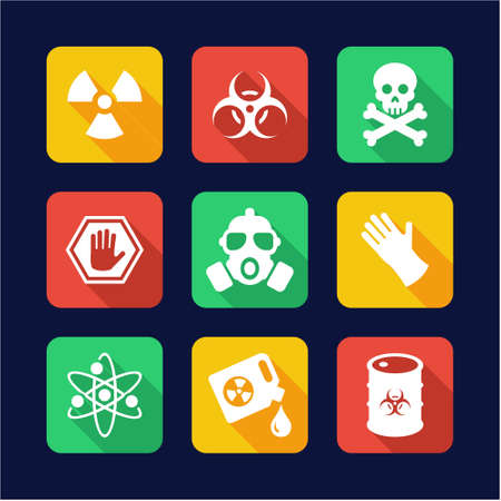 riesgo biologico: Biohazard iconos planos de diseño