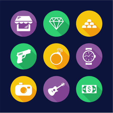 Pawn Shop Icons Flat Design Circle Ilustração