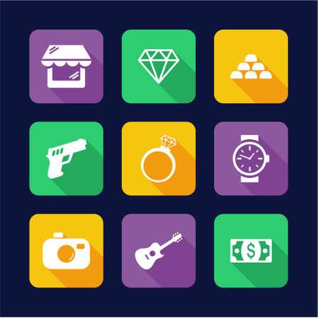 Pawn Shop Icons Flat Design