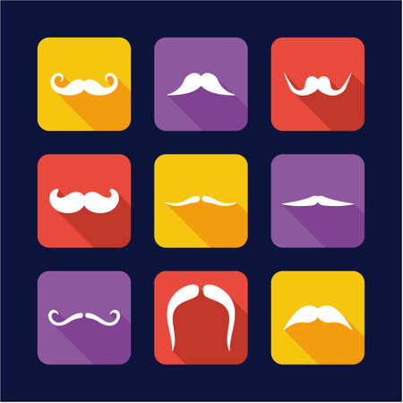 long straight hair: Mustache Icons Flat Design