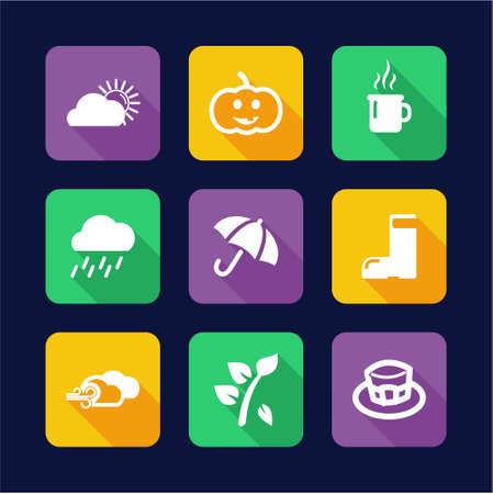Autumn Icons Flat Design