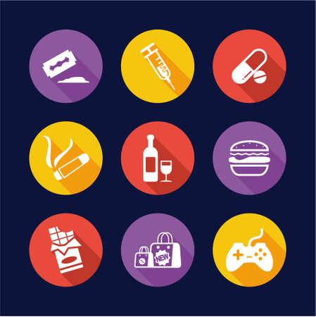 Addiction Icons Flat Design Cercle Vecteurs
