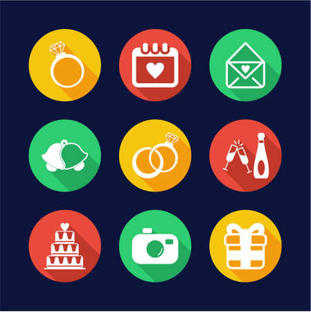 marriage bed: Wedding Icons Flat Design Circle