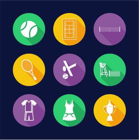 wimbledon: Tennis Icons Flat Design Circle