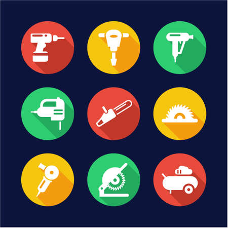 power tools: Power Tools Icons Flat Design Circle Illustration