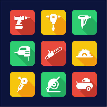 power tools: Power Tools Icons Flat Design