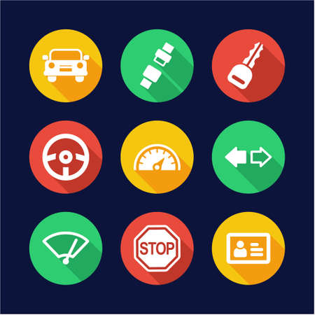 driving school: Driving School Icons Flat Design Circle Illustration