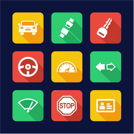 rookie: Driving School Icons Flat Design