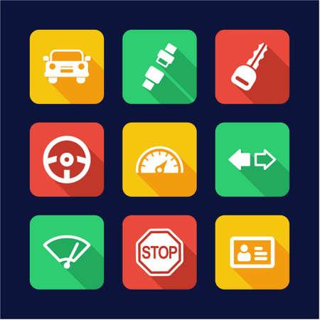 windshield wiper: Driving School Icons Flat Design