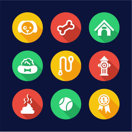 dog poop: Dog Icons Flat Design Circle
