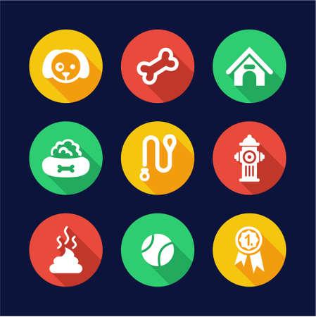 dog leash: Dog Icons Flat Design Circle
