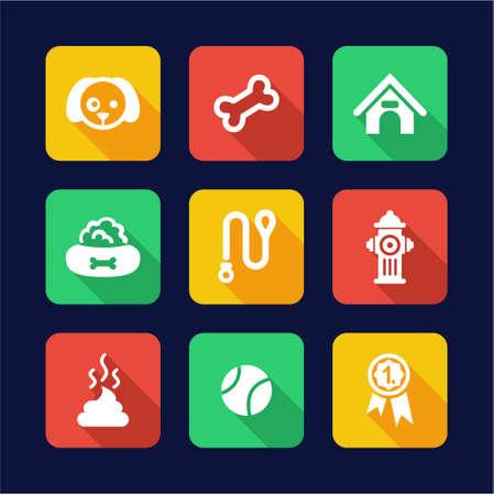 dog leash: Dog Icons Flat Design