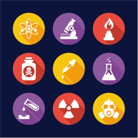caution chemistry: Chemistry Icons Flat Design Circle