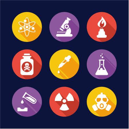 Chemistry Icons Flat Design Circle