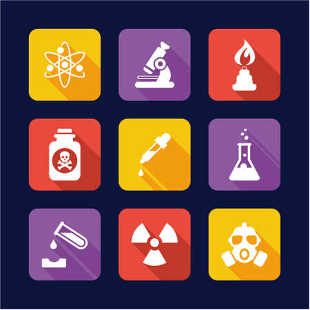separating funnel: Chemistry Icons Flat Design Illustration