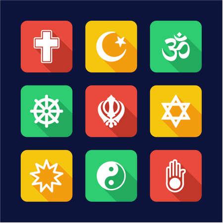 baha: Religion Icons Flat Design