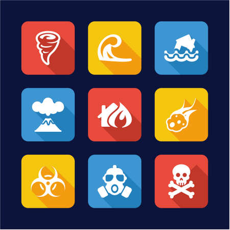 hazard damage: Armageddon Icons Flat Design Illustration