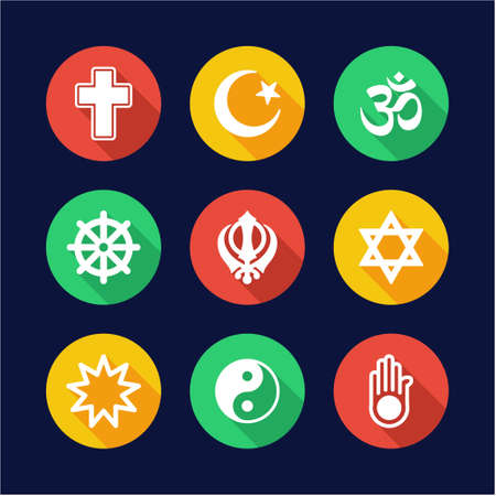 nirvana: Religion Icons Flat Design Circle