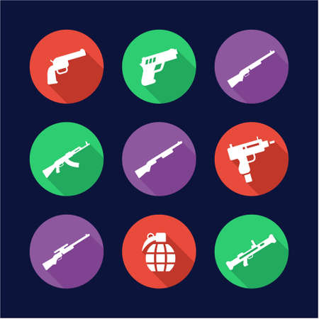 semi automatic: Weapons Icons Flat Design Circle