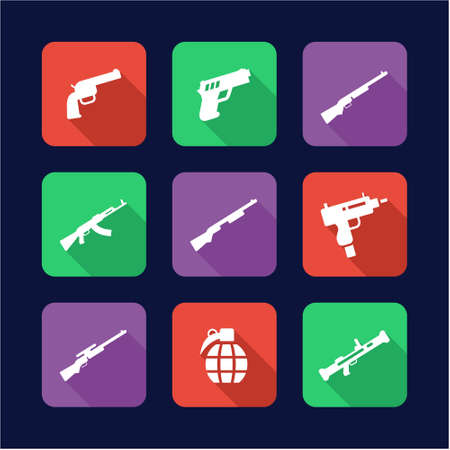 weapons: Weapons Icons Flat Design Illustration