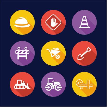 Road Construction Icons Flat Design Circle