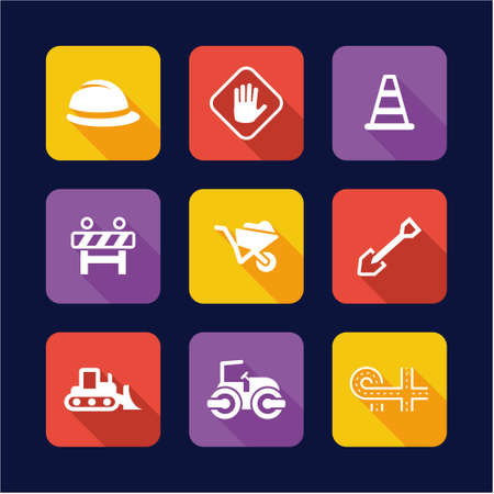 Road Construction Icons Flat Design
