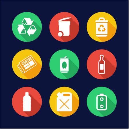 arrow poison: Recycling Icons Flat Design Circle Illustration