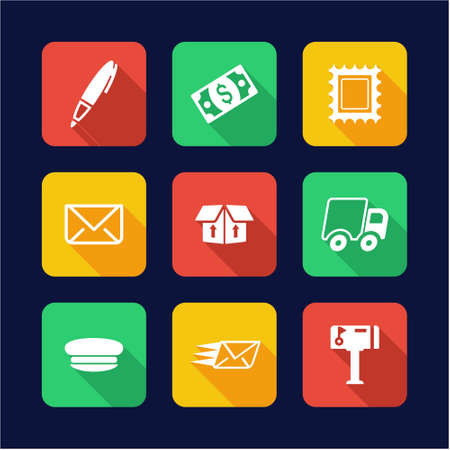fast money: Post Office Icons Flat Design Circle
