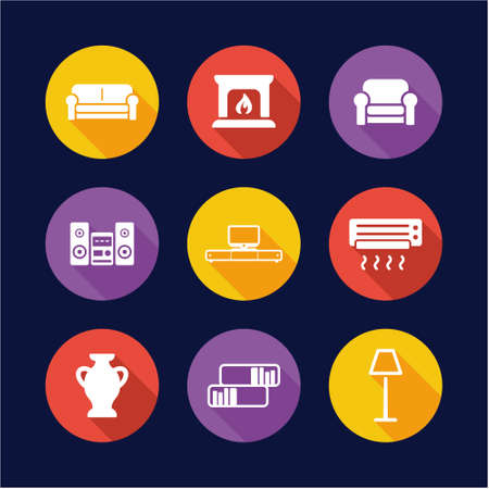furniture design: Furniture Icons Flat Design Circle