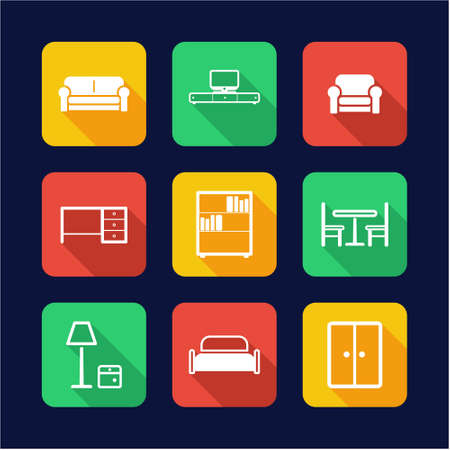 furniture design: Furniture Icons Flat Design Illustration