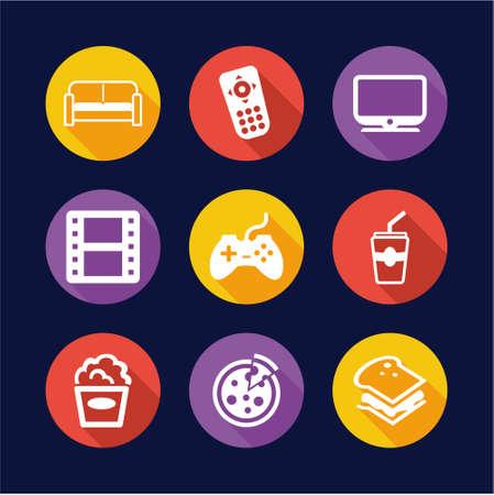 couch potato: Couch Potato Icons Flat Design Circle Illustration