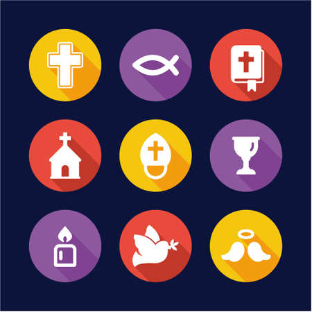 christianity: Christianity Icons Flat Design Circle