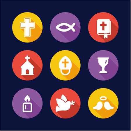 cristianismo: Cristianismo iconos planos del dise�o del c�rculo Vectores