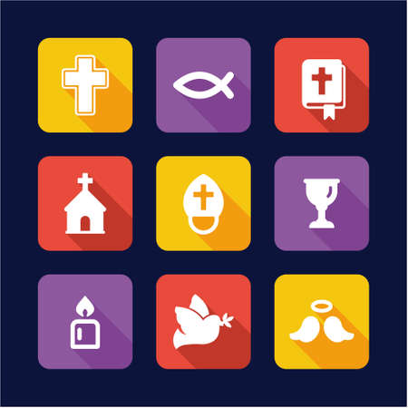 christianity: Christianity Icons Flat Design
