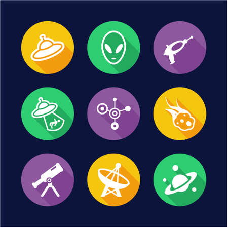 green little planet earth: Alien Icons Flat Design Circle Illustration