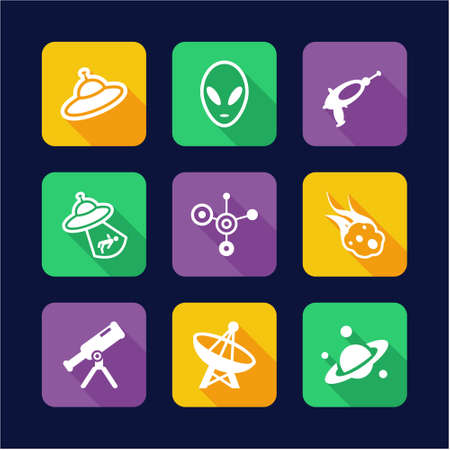 kidnapped: Alien Icons Flat Design