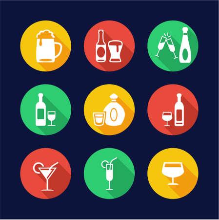 alcoholic drinks: Alcoholic Drinks Icons Flat Design Circle