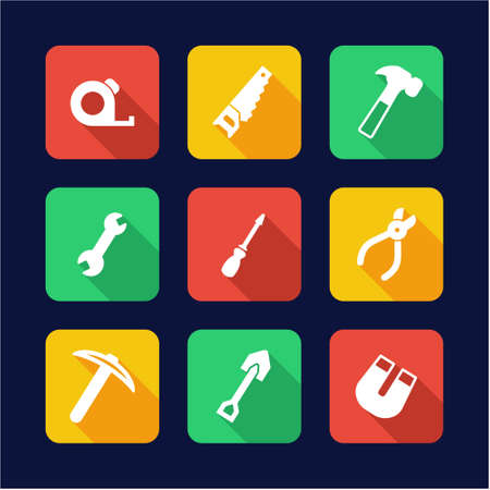 design tools: Tools Icons Flat Design