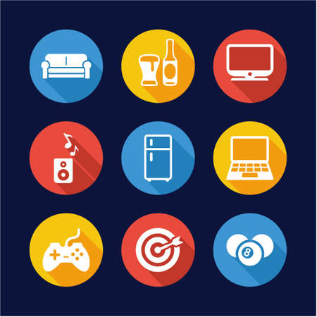 couches: Man Favorite Activities Icons Flat Design Circle Illustration