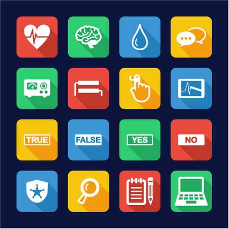 polygraph: Lie Detector Icons Flat Design