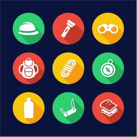expedition: Expedition Icons Flat Design Circle