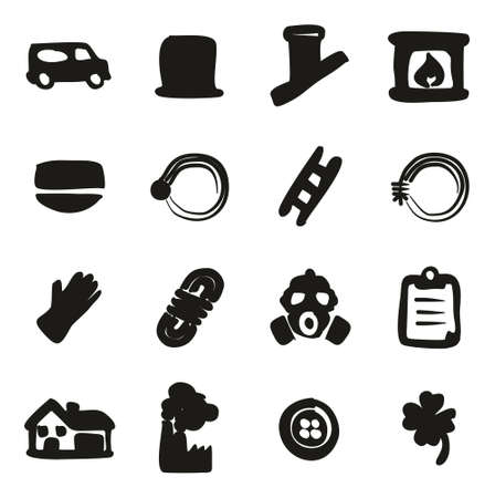 fire wire: Chimney Sweeper Icons Freehand Fill Illustration