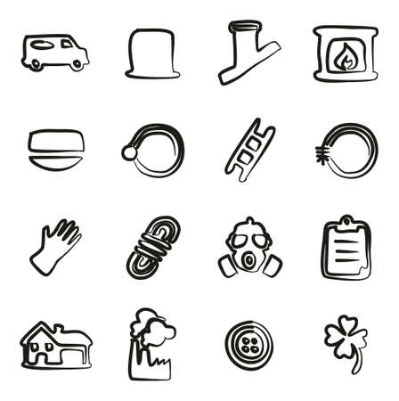 Ramoneur Icons Freehand Banque d'images - 57187599