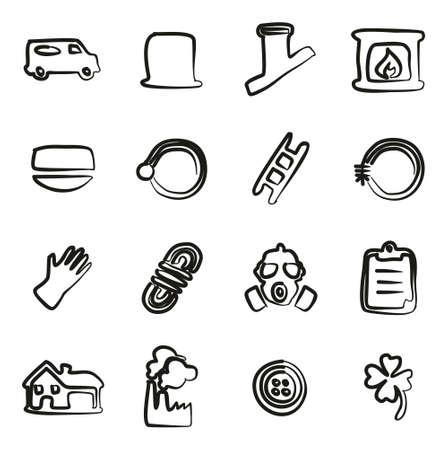 Schornsteinfeger Icons Freihändig Vektorgrafik