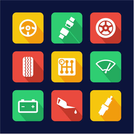 lube: Car Icons Flat Design