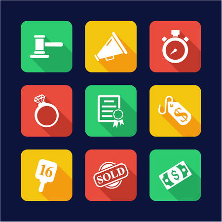 bidding: Auction Icons Flat Design Illustration