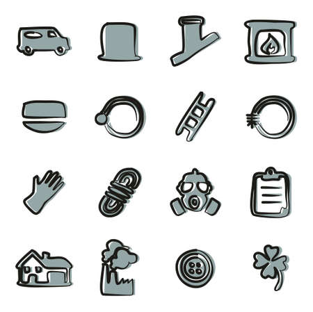sweeper: Chimney Sweeper Icons Freehand 2 Color Illustration