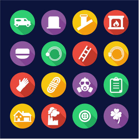 sweeper: Chimney Sweeper Icons Flat Design Circle Illustration