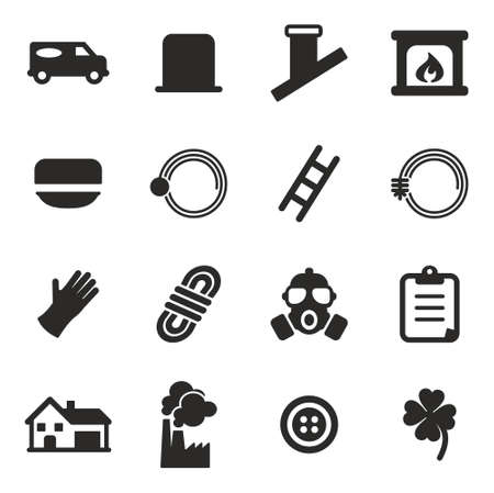 sweeper: Chimney Sweeper Icons Illustration
