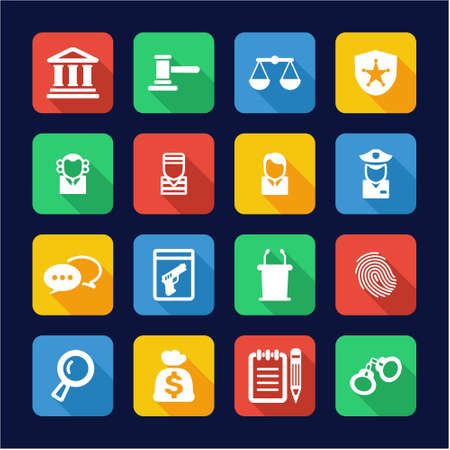 burglar proof: Courthouse Trial Icons Flat Design